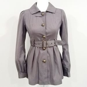 Anthropologie Tulle Belted Pea Coat Peplum Blazer